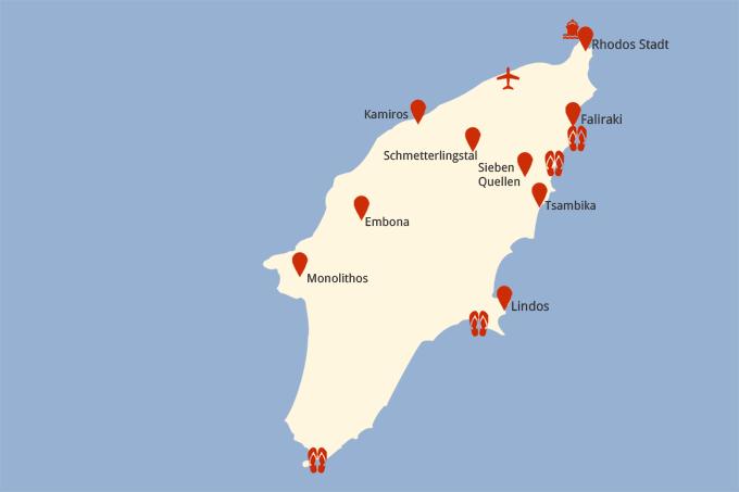Strand Karte Rhodos.Rhodos Und Seine Sehenswürdigkeiten