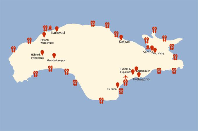 Kreta Karte Mit Sehenswürdigkeiten.Samos Sehenswürdigkeiten Der Grünen Insel